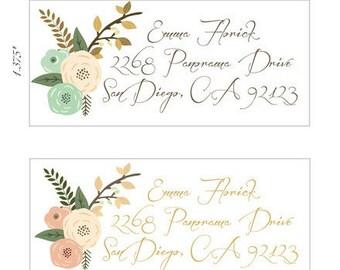 Floral Caligraphy Large Return Address Labels. Wedding Invitation Return Address Labels.