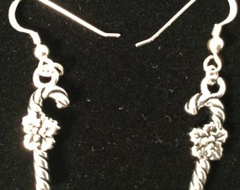 Christmas pewter candy cane earrings