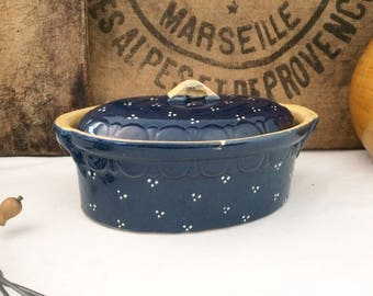 Old blue Bowl with white dots ceramic. Vintage