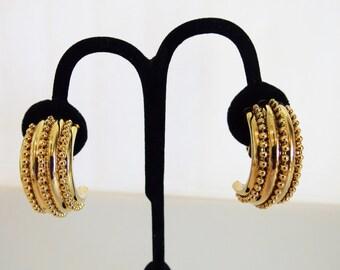 Large Beaded Gold Tone Hoop Earrings
