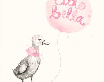 Pink Nursery Art Print, Ciao Bella 'Hello Beautiful' Watercolour Illustration of Duckling and Balloon - 8x10 / A4 French Themed Nursery Art
