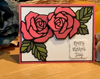 Mother's Day card, Stained glass Mother's Day card, Rose Mother's day card, Die cut rose Mother's Day card