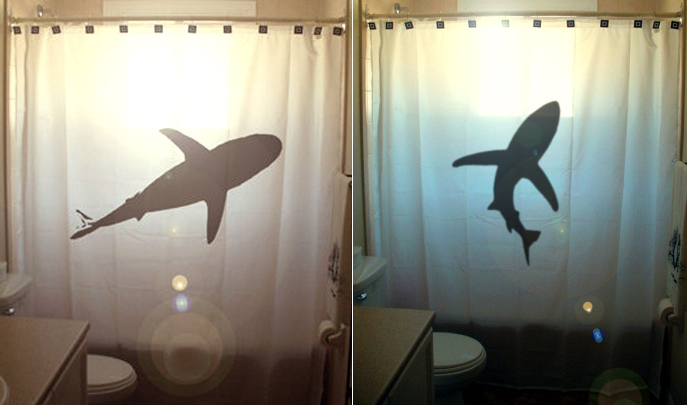 Shark Shower Curtain Nautical Bathroom Decor