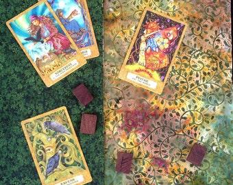 Tarot Cloth.  DRUID. Reversible spread cloth for tarot cards, runes & altars. Altar cloth. Matching tarot bag option.Tarot gifts.
