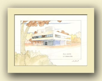 Villa Savoye  Le Corbusier building -  architect - architectural building drawing art wall-Original watercolor painting- Juan Bosco
