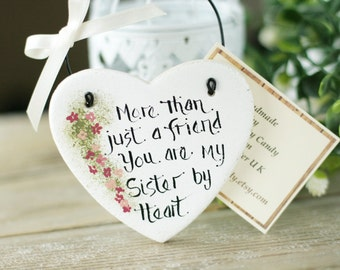 White Heart Sisters gift salt dough hanging ornament, Thank you gift, Personalised heart gift for sister, More than just a friend ...