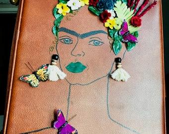 Vintage Leather Frida Kahlo Suitcase