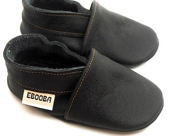 SALE - 50% soft sole baby shoes infant kids children girl black 18 24 bebes cuir souple chaussons Krabbelschuhe porter ebooba OT-17-B-M