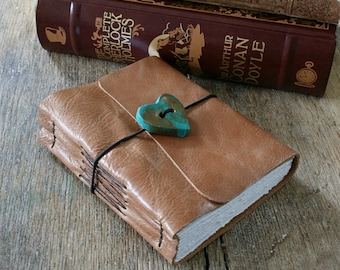"""Leather Journal . Helen Keller """"The most beautiful things in the world...must be felt with the heart."""" - tan leather, heart button (320pgs)"""