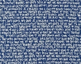 Letter in Navy - Architextures - Carolyn Friedlander - Robert Kaufman quilt weight cotton fabric Fat Quarters quilting dressmaking UK Shop