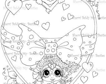 INSTANT DOWNLOAD Digital Digi Stamps Big Eye Big Head Dolls Bestie Scan23FEB Your In My Heart Besties TM By Sherri Baldy
