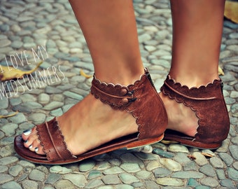 MIDSUMMER. Brown leather sandals / women shoes / leather shoes / flat shoes / boho shoes. sizes 35-43. Available in different leather colors
