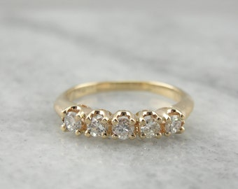 Five Diamond Wedding Band in Yellow Gold  70ZQXJ-R