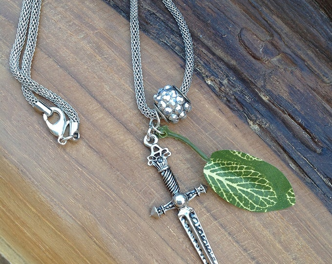 ONE OF A KIND Handmade Sword Necklace, Simple, Boho, Tribal, Leaf, Festival, Sexy, Celebrity, Ethnic, Native, (Garden of Eve Necklace 1)