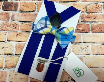 Little Boys Bow Tie and Suspender Set - Blue Yellow Plaid