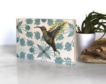 Hummingbird Wall Art, Hummingbird Print, Shelf Art, Hummingbird Home Decor, Nature Lovers Gifts, Gift, Floral Bird Art, Wall Room Decor