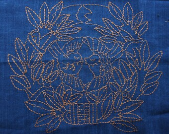 Sashiko Fabric / Japanese Vintage Fabric #001 Kamon with birds