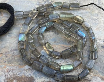 Labradorite Rectangle Beads, Blue Flash Labradorite, Labradorite Brick Beads, 6 to 8mm, 14 inch