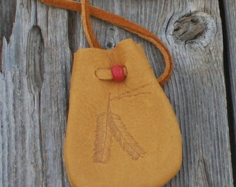 Medicine bag with feathers, Leather amulet bag, Necklace bag, Small drawstring neck pouch, Leather crystal bag,
