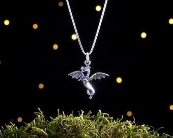 Sterling Silver Baby Dragon - Small - (Charm Only or Necklace)