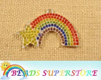 30 mm x 50 mm Rainbow Rhinestone Pendant - Chunky Necklace Pendant (RCP02)