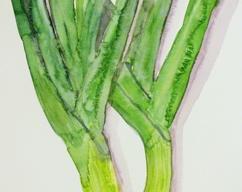 Leeks Kitchen Art ||  Cooking || Vegetables  || Housewarming || Art print download