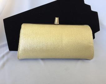 Vintage, Hard Body, Gold Metallic Lame Clutch/Wristlet