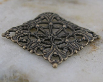 Square Brass Filigree Finding Antiqued Brass 448 - 6 pieces