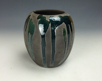 Metallic Green and Barely Muted Pink/Tan Raku Ceramic Vase, Modern Home Decor, Unique Clay Vessel, Contemporary Artwork, Miniature Small