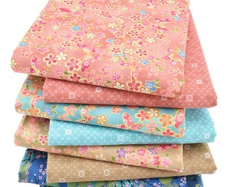 8pcs  Flower Cotton Fabric ,Pure Cotton Printed Fabric - 15 Inch x 20 Inch