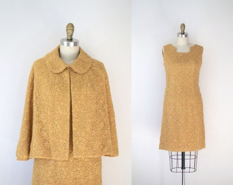 1960s Mustard Yellow Dress & Cape / 60s Embroidered Dress Set