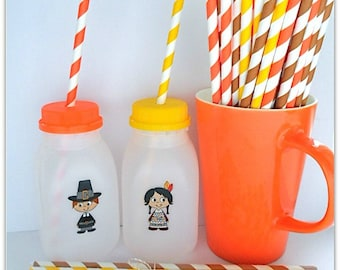 12 Plastic Milk Bottles - Fall or Thanksgiving Indians Pilgrims! (Lids/Stickers included!!) Perfect for parties/party favor bottles!!