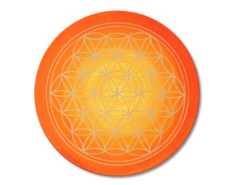 """Mural Flower of Life """"Sunrise""""-hand painted-size 50 cm round-gold with acrylic paint-canvas Image 