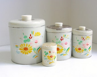 Vintage Ransburg canister set hand painted grey with flowers
