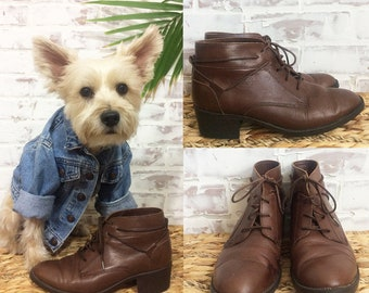 Vintage 80's Brown LEATHER Ankle Booties || Granny Boots || Oxford Lace Up Shoes || Size 6.5