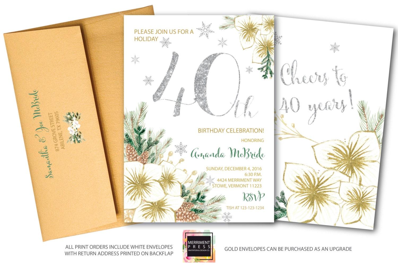 40th Birthday Invitation // Winter 40th Birthday Invitation ...
