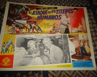 Original 1958 Attack Of The Puppet People Mexican Lobby Card Movie Poster John Agar # 2