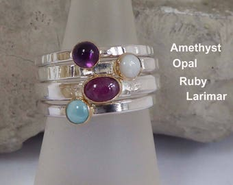 Amethyst Opal Ruby Larimar skinny rings gold and silver stacking