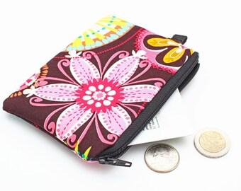 Floral Coin Purse, Small Fabric Zipper Wallet, Cute Coin Purse, Handmade Purse, Vibrant Women's Mini Makeup Pouch - pink carnival blooms