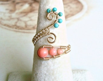 Turquoise Coral Wire Ring, Peach Aqua Adjustable Ring, Gold Swirl Wire Ring,  Wire Wrapped Coral Ring