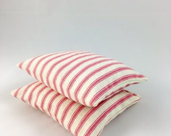Organic Lavender Pillows - Set of Two Lavender Sachets - Organic Lavender Sachets - Candy Pink Ticking