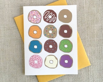 It's Your Birthday Go Donuts! / Donut Birthday Card / Foodie Gift / Funny Birthday Card / Illustrated Doughnut Bday Card / Modern Cards
