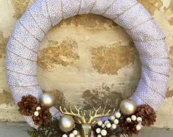 White Deer Antler Christmas Wreath