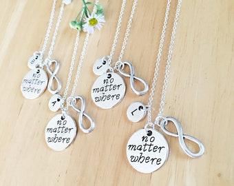 SET OF 4 No Matter Where Distance Jewelry Friendship Distance Gifts BFF Best Friend Distance Necklaces Personalized Necklaces Long Distance