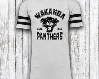Wakanda Panthers - Black Panther - Avengers -  Sporty Longline Style White or Black T shirt - Mens Womens - S M L XL XXL 2XL