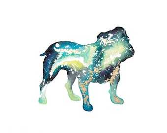 Galaxy Dog - English Bulldog - Original Painting