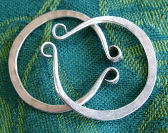 Medium Small Hand Forged Silver Hoops for Non Pierced Ears