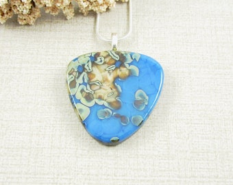 Fused Glass Pendant - Blue and Green Glass Necklace - One of a Kind Glass Pendant - Fused Glass Jewelry - Large Pendant