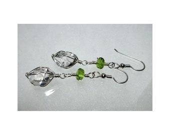 ww1348 - PERIDOT & HERKIMER DIAMOND Wirewrap Earrings - Argentium Sterling Silver