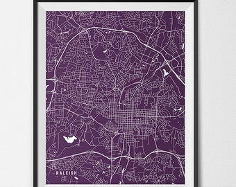 Raleigh Map Print, Raleigh Poster of North Carolina Map of Raleigh Gift North Carolina Art, Meredith College Art College Dorm Room Art